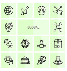 14 global icons vector image