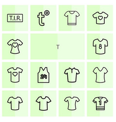 14 t icons vector image