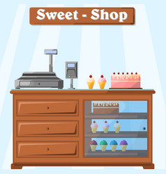 a counter with sweets from the vector image