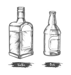 alcohol drink bottles sketch vodka and beer vector image