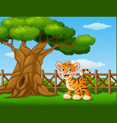 Animal tiger standing beside a tree inside the fen vector