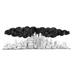 Artistic drawing of city covered by smoke and air vector