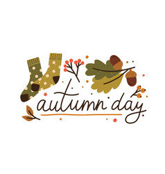 autumn day colorful lettering with design elements vector image