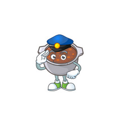 Baked beans in bowl with police mascot vector