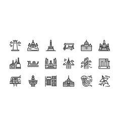 Bangkok symbols and landmarks icon set 1 vector