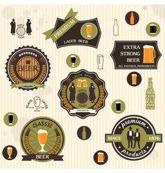 Beer badges and labels in retro style design vector
