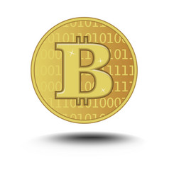 Bitcoin isolated on white background golden vector
