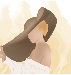 Blonde woman in white blouse and with a big hat on vector