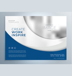 Blue wavy business brochure presentation template vector