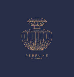 Bottle perfume linear image perfume to vector
