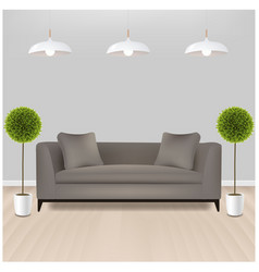 Brown sofa with lams with grey background vector
