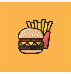 Burger sandwich and french fries vector
