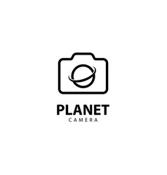 Camera planet logo with monoline style vector