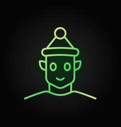 christmas elf colored icon in line style on dark vector image