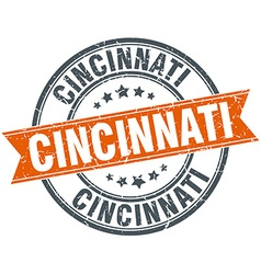 Cincinnati red round grunge vintage ribbon stamp vector