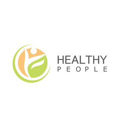 Circle people healthy logo vector