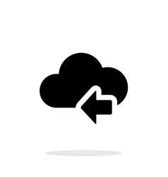 Cloud computing with previous arrow simple icon on vector