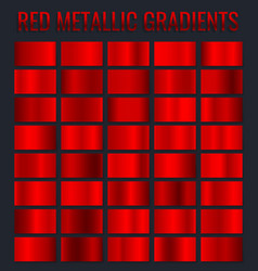 collection red metallic gradients chrome vector image