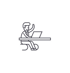 Coming in a moment in office line icon vector