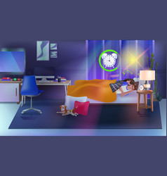 couple sleeping in bed with alarm clock modern vector image