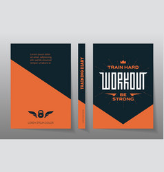 cover of the training diary a4 brochure design vector image