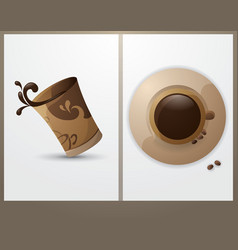 cup of coffee in the background cards vector image
