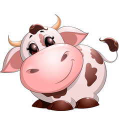 Cute baby cow cartoon vector