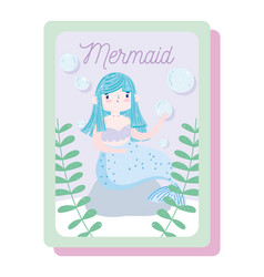 cute little mermaid sitting on rock vector image