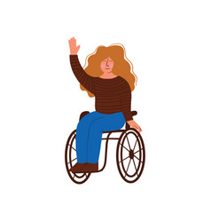 Disabled young woman in wheelchair smiling and vector