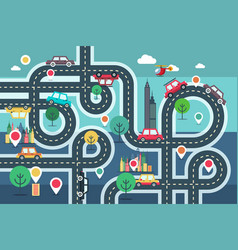 downtown city map with pins and cars on road vector image
