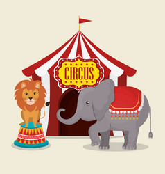 Elephant and lion circus show vector