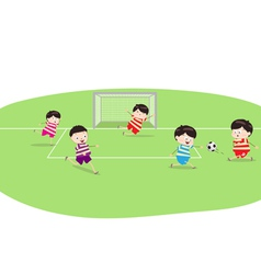 Featuring a group of boys playing soccer vector