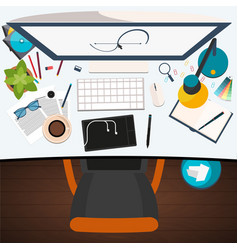 freelance workplace design workplace flat vector image
