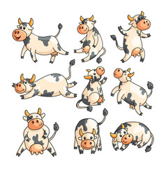 Funny spotted cows with different emotions in vector