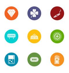 Gambling establishment icons set flat style vector