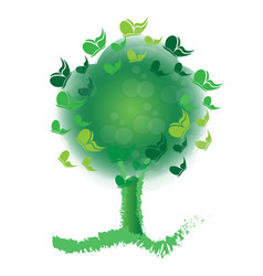 green tree filled with butterflies icon vector image