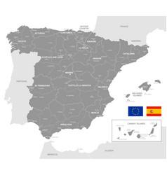 Grey political map spain vector