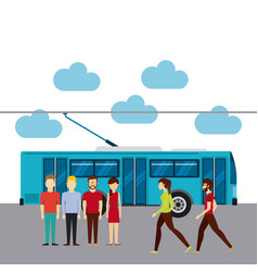 Group of people in transport terminal vector
