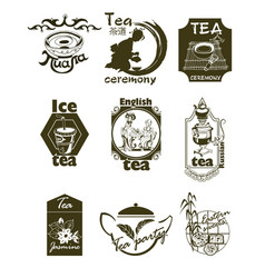 Hand drawn tea logotypes set vector