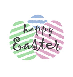 happy easter text sign lettering on cute striped vector image