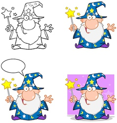 Happy Wizard Waving With Magic Wand Collection vector image