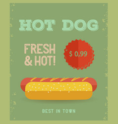 Hot dog menu vintage poster vector