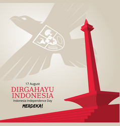 Indonesia independence day background with garuda vector