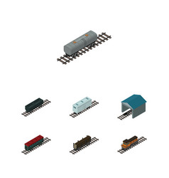 Isometric train set of railroad carriage carbon vector