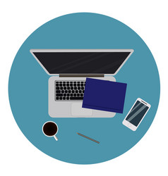 Laptop and office supplies laying on the board vector