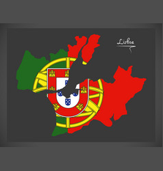 Lisboa portugal map with portuguese national flag vector