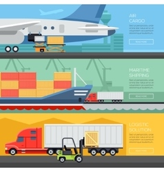 Logistic flat banners set of maritime rail and air vector