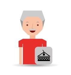 man cartoon dessert slice cake cherry design icon vector image