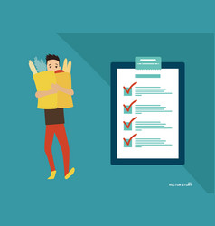 man with completing checklist on clipboard vector image