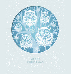 merry christmas card with owls vector image